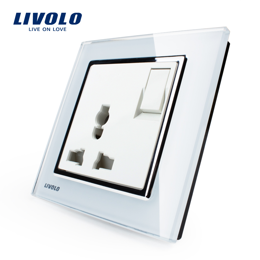 Гаджет  Livolo Manufacturer, 1 Gang 1Way  Push Button Switch &3Pins Multifunction 10A Socket , White Crystal Glass Panel,VL-W2Z1C-12 None Свет и освещение