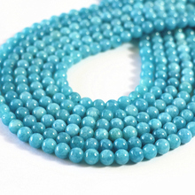 Buy New blue natural stone dyed chalcedony 6mm 8mm 10mm 12mm round loose beads high quality jewelry making accessories 15inch B105 for $4.74 in AliExpress store