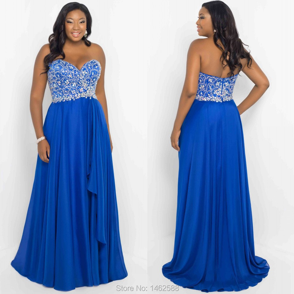 Sparkly beaded sweetheart royal blue dress prom long for Royal blue plus size wedding dresses