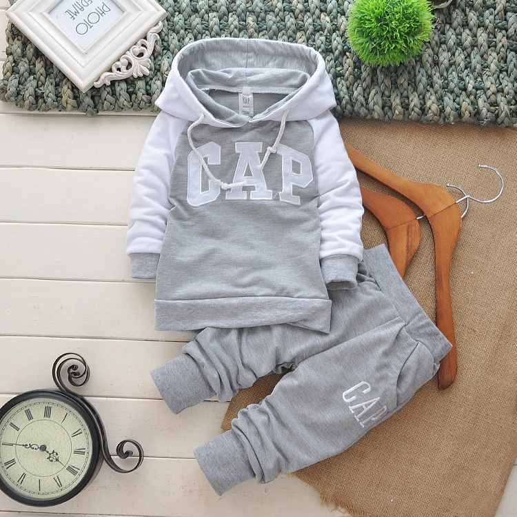 Retail 2015 spring boys and girls brand name outfit set kids brand clothing set children tracksuit sport hoodie coat + pant(China (Mainland))