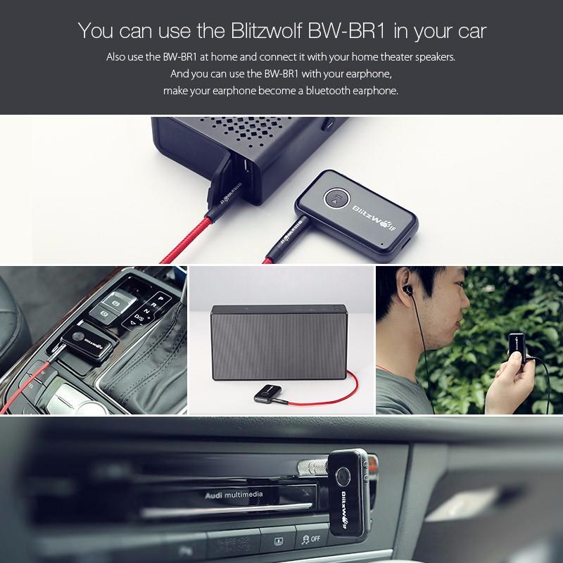 BlitzWolf Wireless Bluetooth V4.1 3.5mm AUX Audio A2DP Adapter Original Car Handsfree Music Receiver For Speaker