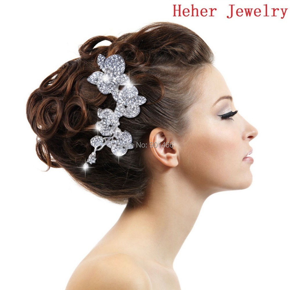 wholesale 2014 new hair jewelry delicate orchid hair comb