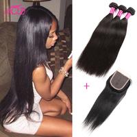 Brazilian Virgin Hair Straight With Closure 3 Bundles Brazilian Straight Hair With Closure 7a Unprocessed Cheap Human Hair Weave