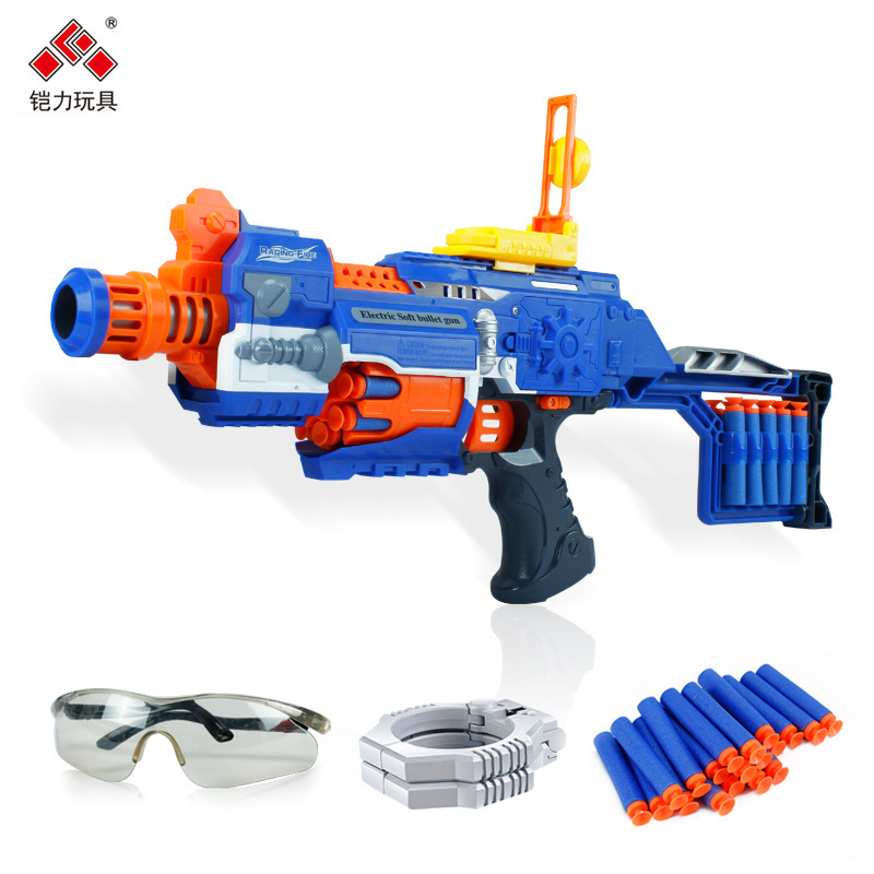 Electronic N long Strike elite airsoft gun toy with 20 soft bullets&Goggles&Glovesboy gift Nerf Blaster compatible(China (Mainland))