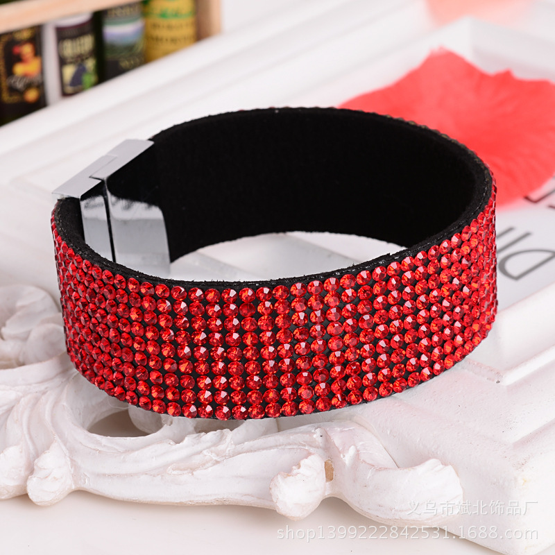 New fashion Magnetic Buckle Party Bangle Punk Colorful Wristband Designed Flannel Rhinestone Bracelet(China (Mainland))