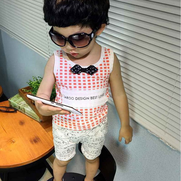 Hot Summer Baby Boys Clothes Set Brand Boys Clothes Casual Boys Clothing Sets with Bow Shirts Children Tracksuit(China (Mainland))