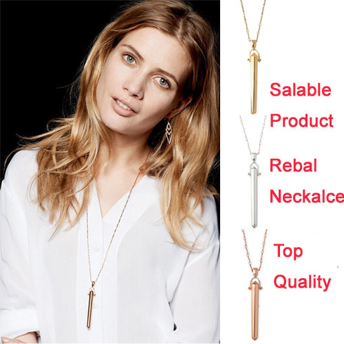 Rebel Necklace! Hinged Shiny Gold,Silver Or Rose Gold Plated Pendant Necklace For Women Brass Chains With Bar Good Jewelry(China (Mainland))