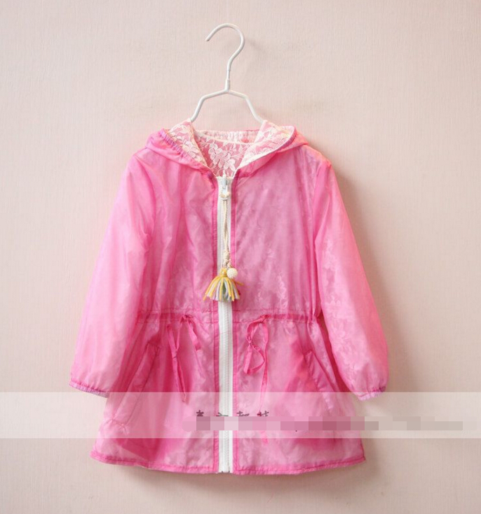 2016 Children's baby Lace hooded sun-protective coat girls Sides Now Wear clothing