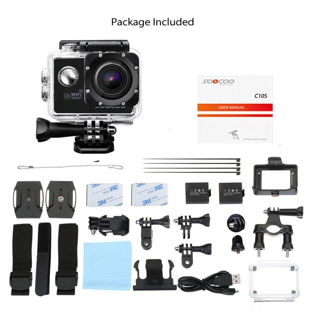 ถูก SOOCOO C10S Wifi Full-HD 1080จุดกล้องกีฬาที่มี12MP 2.0จอแอลซีดี170ปริญญากว้างเลนส์กันน้ำ30เมตร(ที่มีแบตเตอรี่เสริม)