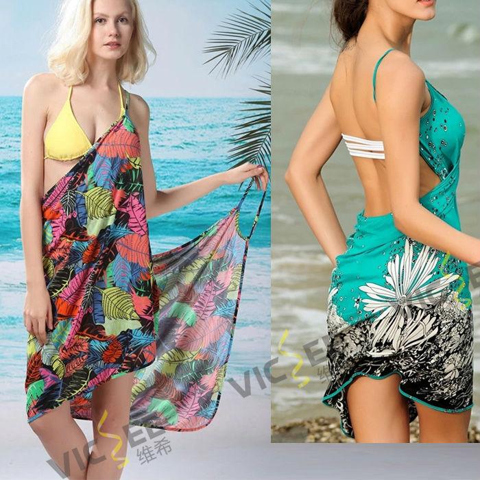 Hot Selling Fashion Soft Chiffon Bohemian Beach Dress Print woman Backless Bandage dress towel VCS019 - VICSEE International Apparel Ltd store