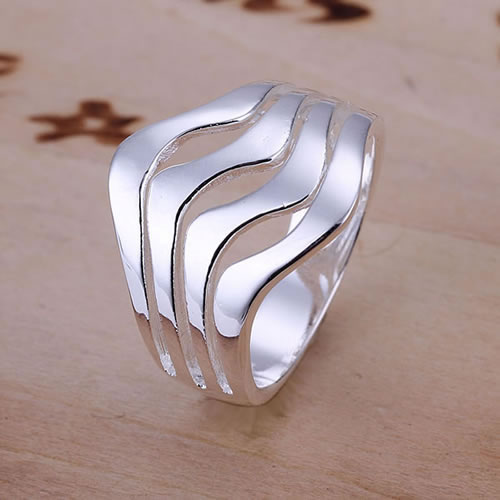 R123 Size 8 Wholesale silver Plated ring Water Waves Ring bfiajwpasn