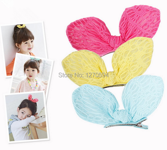 Candy Color Lace Baby Girl Bunny Ear Hair Clips Watermelon Red Yellow Blue Bow Grips High Quality Fabric Hairpin Trendy Bow Knot(China (Mainland))