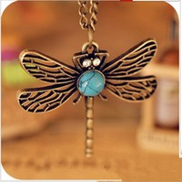 Hotselling Vintage Exquisite Dragonfly Long Necklace Sweater Chain Free Shipping Wholesale