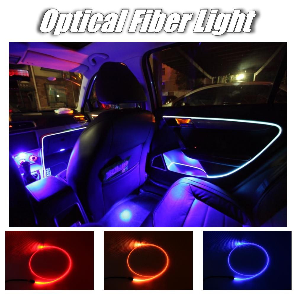Car Interior Ambient Light 1 Meter long Universal Fit Decoration Strip For Car Door Roof Dashboard Optical Fiber Light 4
