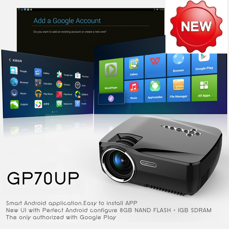 2016 New style Built-in Android 4.4 Bluetooth Smart Wireless Wifi Home Theatre HD LED Video 1080P TV 3D Cinema Projector A#V9(China (Mainland))