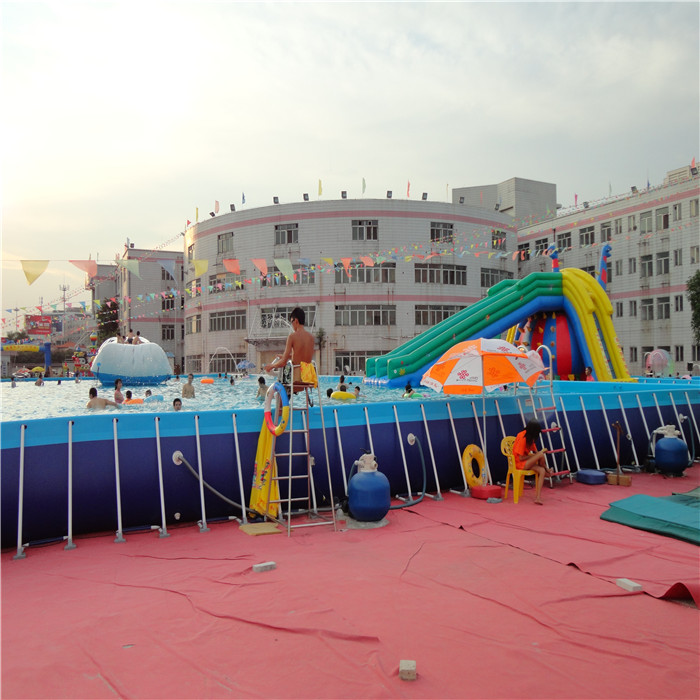 Scaffolding adult outdoor pool water slipping through inflatable swimming pool children's water park slides on trampoline(China (Mainland))