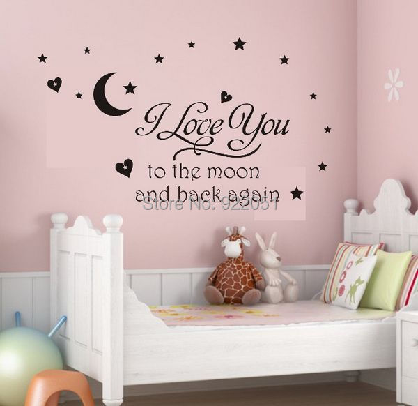 Free shipping I Love You To The Moon and Back Kids Bed Room Wall Quotes Beautiful Nursery Wall Decor Stickers Star Decoration(China (Mainland))