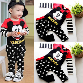 2015 Autumn Baby Kids Boys Cartoon Mickey Sport Tracksuits 2pcs Outfit Baby Clothes