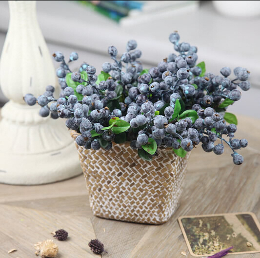 5pcs 4 color Decorative Blueberry Fruit Berry Artificial Flower Silk Flowers Fruits For Wedding Home Decoration Silk Plants(China (Mainland))