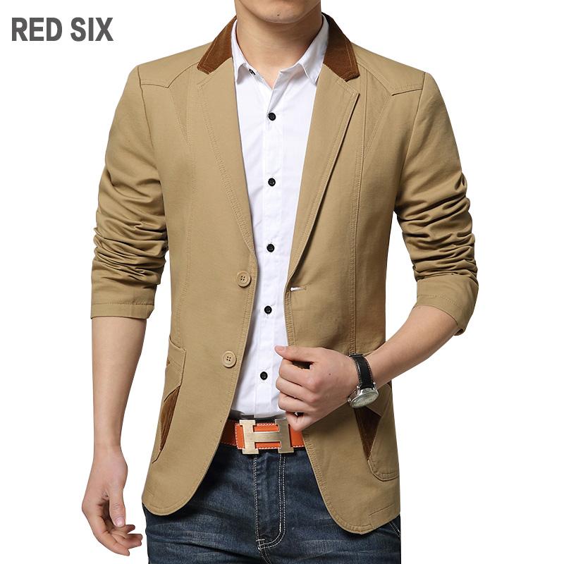 New spring autumn casual blazer men Fashion turn-down collar patchwork blazer suit jacket Slim fit men coat Plus size XXXL L230(China (Mainland))