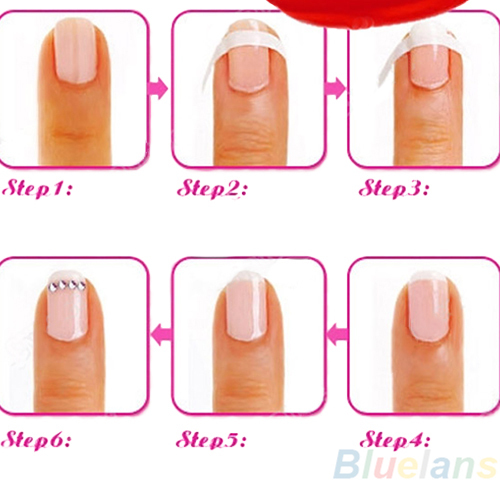 Each Pack includes 48 guides French Manicure Nail Art Form Fringe Guides Sticker DIY Stencil 02T2 39OI(China (Mainland))
