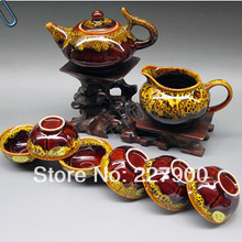 Chinese Antique Junyao Yellow And Brown 8 Piece Ceramic Small Kung Fu Tea Set Tea Service