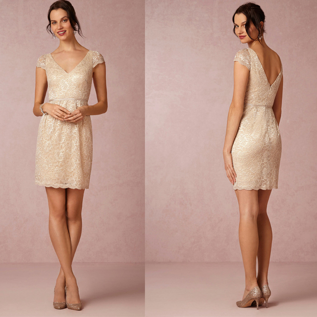 Fashion knee length v back champagne sequined lace for Sexy dresses for wedding guests