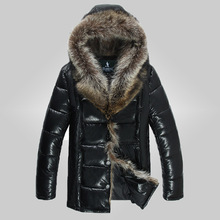 free shipping 2015 mens PU leather jackets add down winter quality mens leather coats thick fur duck dowm jacket plus size M-4XL