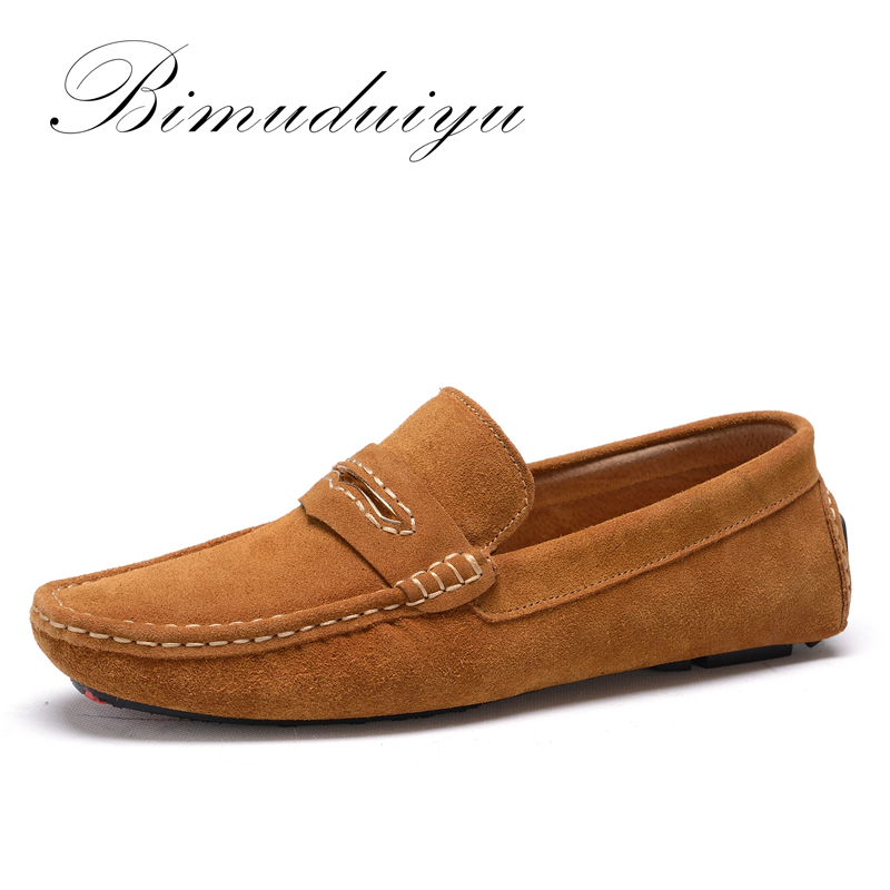 Soft Comfort Daily Walking Driving Flat Shoes For Men Solid Color Fashion Breathable Suede Leather Loafer Quality Handmade