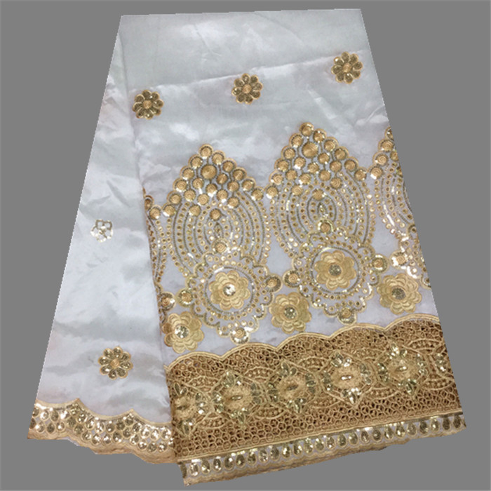 Elegant apparel material white with gold embroidery African george fabric with sequins DGL55-12i (5yards/lot)(China (Mainland))