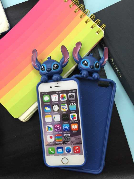 New 3D Cute Cartoon Stitch Soft Silicon Cover Back Rubber Case For iPhone 6 6S 6Plus 6SPlus(China (Mainland))
