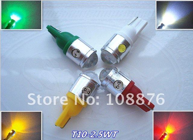 2 x T10/w5w 2.5W car led parking lights, white blue green yellow and red clearance lights, free shipping