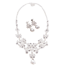 Women Jewelry Set Wedding Bride Choker Pendant Crystal Necklace+Charming Earrings #77004(China (Mainland))