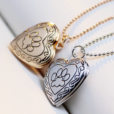 High Quality Valentine Lover Gift Animal Dog Paw Print Photo Frames Can Open Locket Necklaces Heart Pendants 10pcs/lot(China (Mainland))