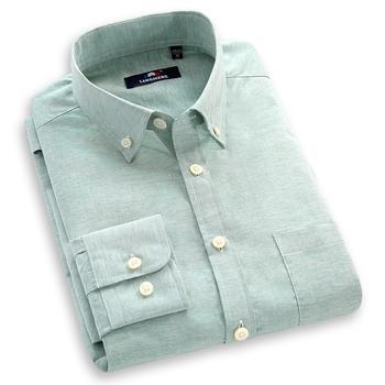 Стильный приталенный Fit длинный рукав свободного покроя рубашка мужские сплошной ...