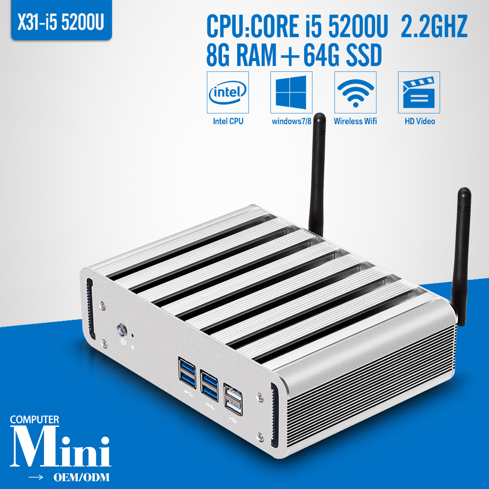 5th generation Core Processors i5 5200U 8G RAM 64G SSD with wifi Windows 7 8 10 industrial mini pc embedded computer(China (Mainland))