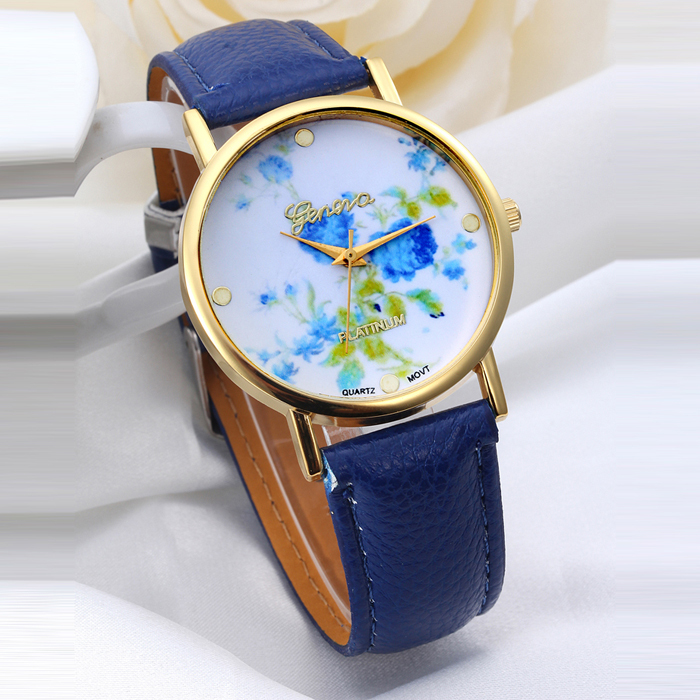 Vogue Women Flower Dial Quartz Analog Watch Leather Band Ladies Wrist Watches 9 Models relogio feminino(China (Mainland))