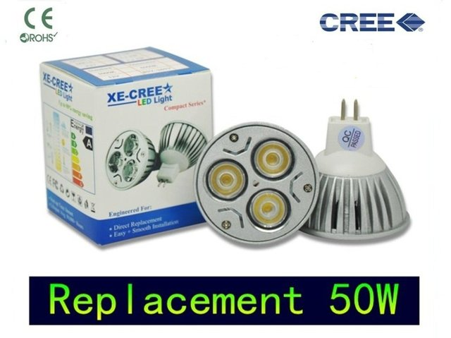 4 Pcsl/Lot ( 2012 Replacement 50W ,CREE dimmable 12V or 110V 220V ) led Mr16 3X3W 9W Gu5.3 bubs Cree led chip warm LED light