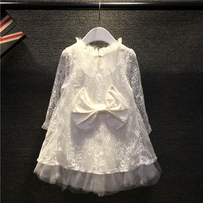 () - 2016 white lace back bow dress child girl guangdong humen costume Factory store