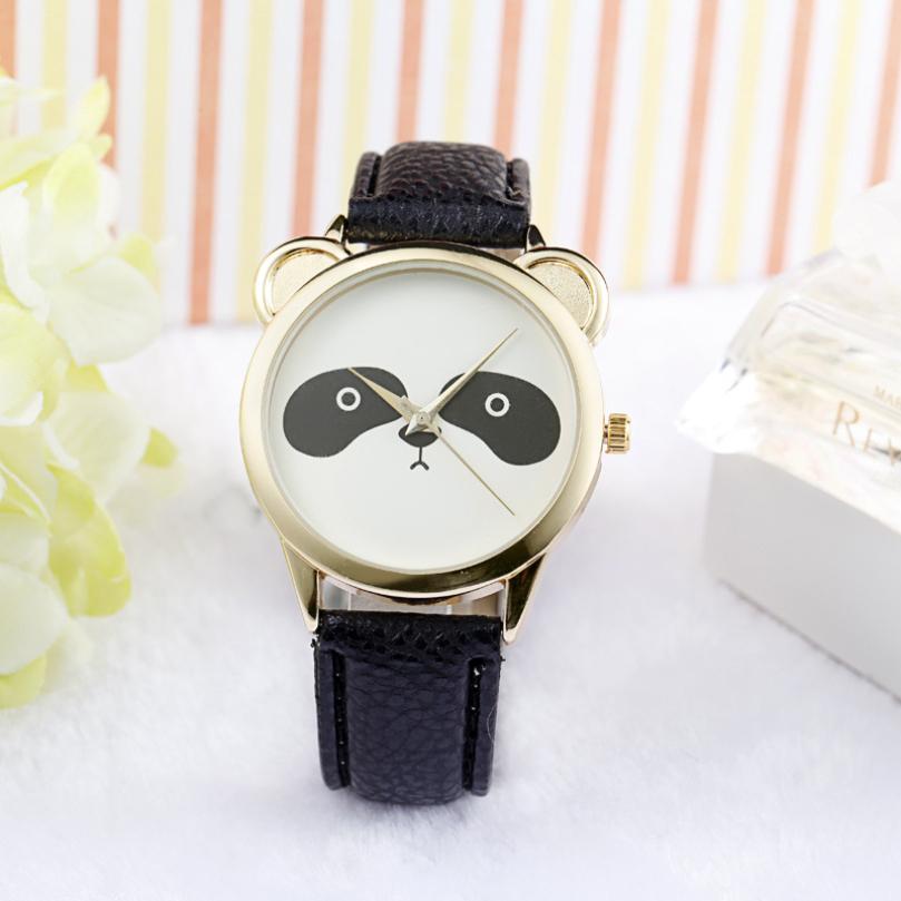 relogio feminino Hot Diamond Lovely Panda Face Faux Leather Quartz watch march10 supper fun(China (Mainland))