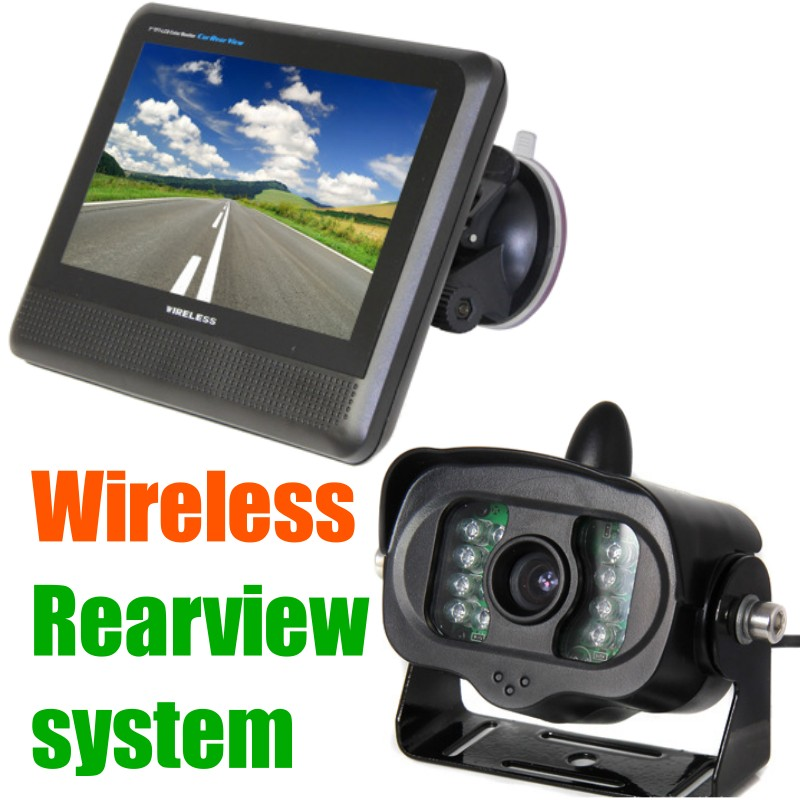 "2.4g wireless Car truck trailer Van School bus rear view camera Monitor system, 7""tft lcd rearview screen + Reversing backup cam(China (Mainland))"
