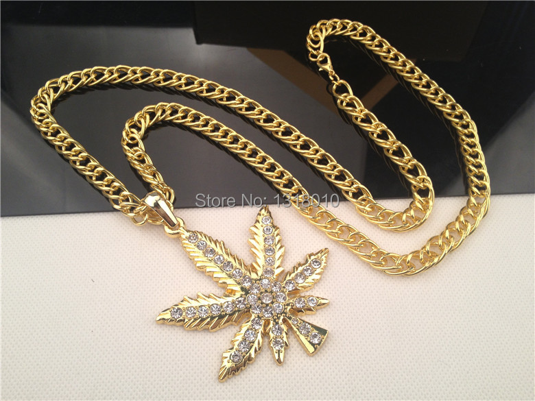 14k Gold Plated WEED Marijua Leaf Pot AAA Lab Rhinestone Pendant Necklace Snake Chain Iced Out Hip Hop Gift(China (Mainland))