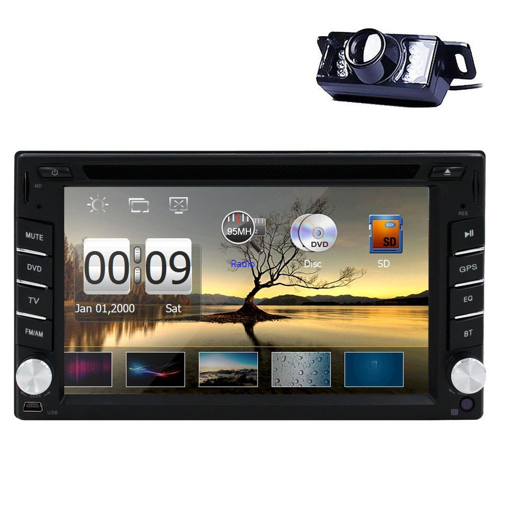 Double Din In Dash 6.2 inch Car DVD Player GPS Navigation System Car Stereo Bluetooth AM/FM Radio Car Head Unit Free Back Camera(China (Mainland))