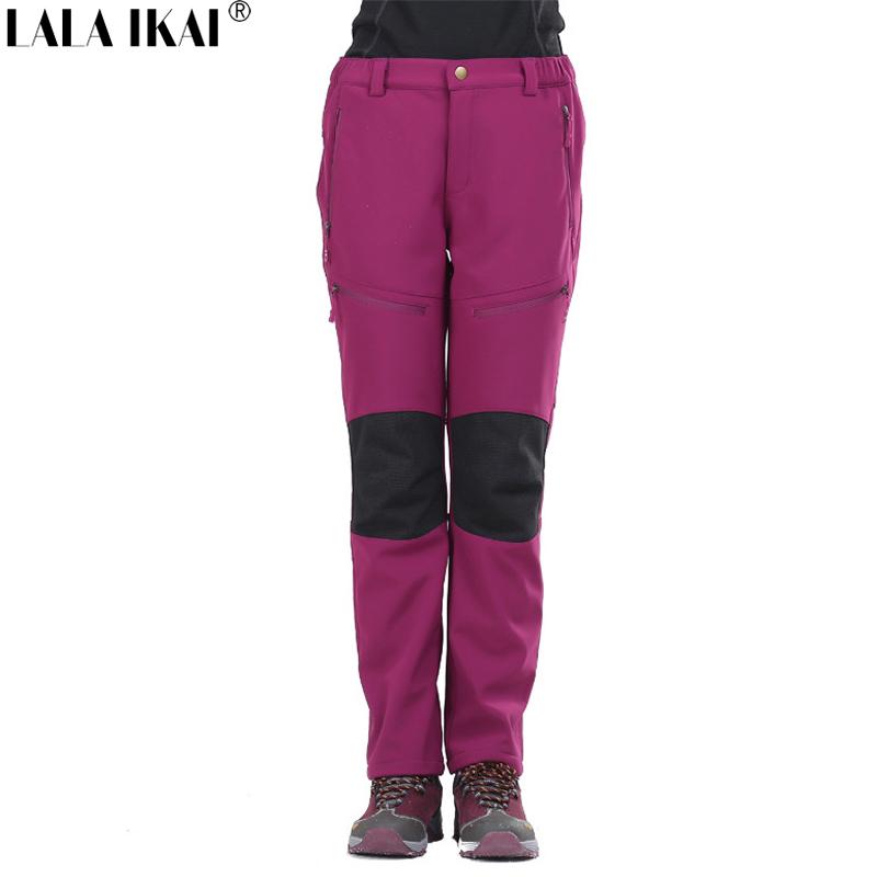 Trekking Pants Women Winter Thermal Softshell Pants Windbreaker Waterproof Hiking Pants Women Polartec Fleece Pants HWB0076-2 от Aliexpress INT