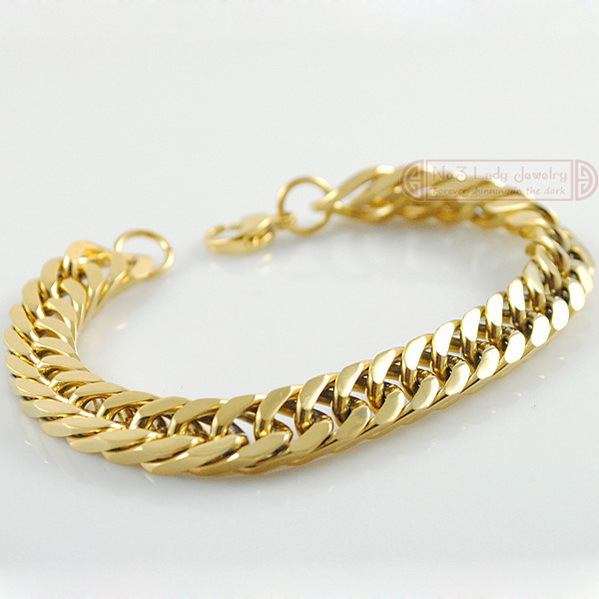 18k Gold Plated Stainless Steel Bracelets Curb Cuban Chain