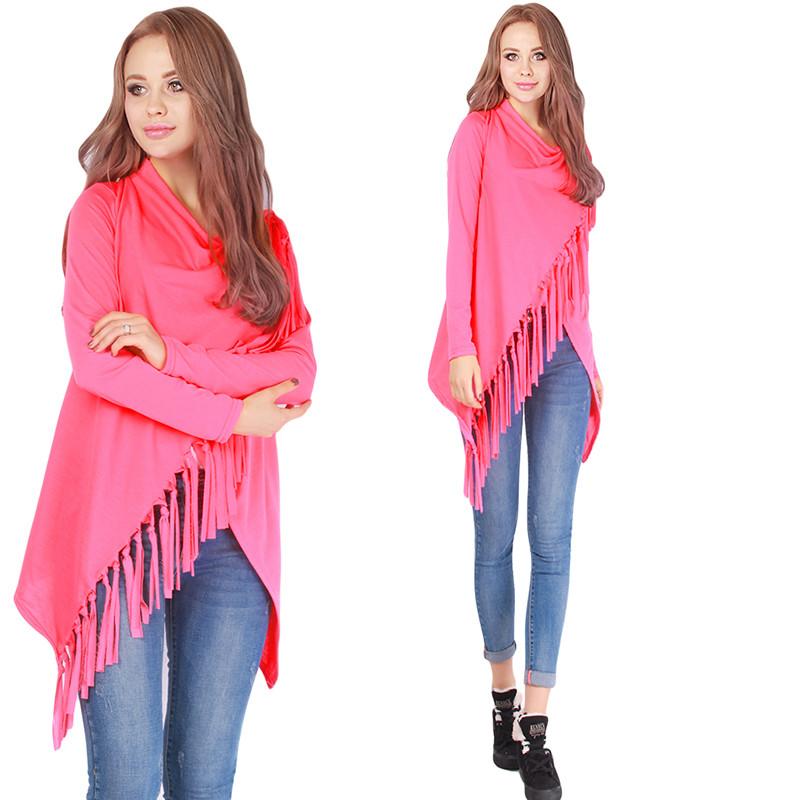 Women Long Sleeve Knitted Cardigan Female Casual Loose Irregular Hem Tassels Sweater Autumn Winter Outwear 4 Color Free Shipping