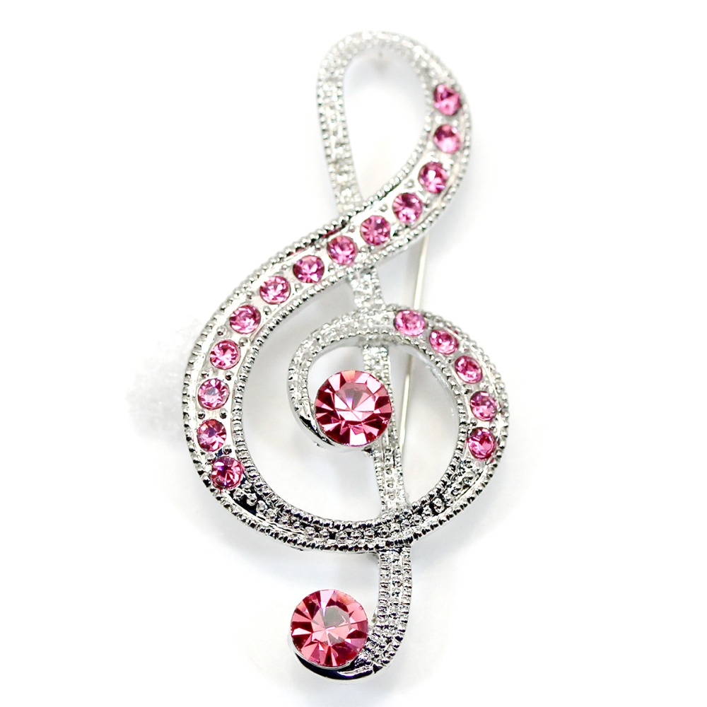 Pink Rhinestone Fashion Costume brand brooch Jewelry gift,Music Note Crystal Brooches pins C917 D2  -  Wei's Mall store