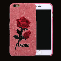 For iphone 6 / 6S protective cover for the back cover of the mobile phone with a beautiful and beautiful embroidered rose