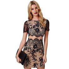 Sexy Bandage Dress 2016 Women Floral Lace Bodycon Dress Novelty Black Party Dresses Vestido De Renda Vestido De Festa Curto 1592(China (Mainland))