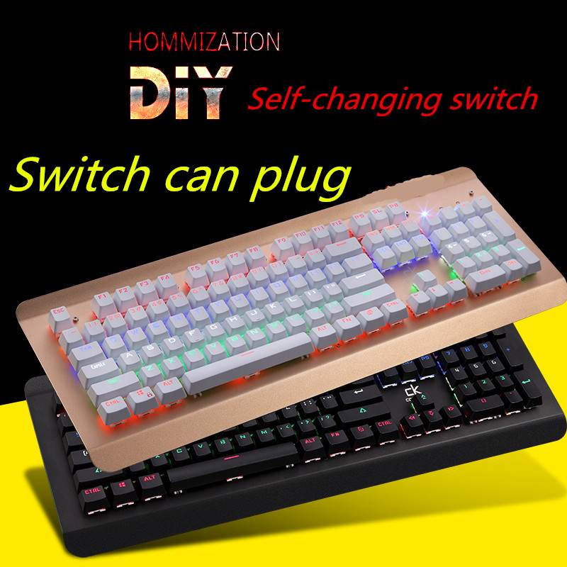 Real Mechanical Gaming Keyboard English Layout with free mouse for gamer can plug switch self change switch(China (Mainland))